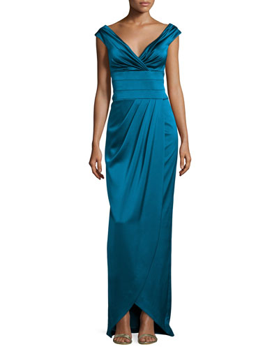 Cap-Sleeve Ruched Column Gown, Peacock