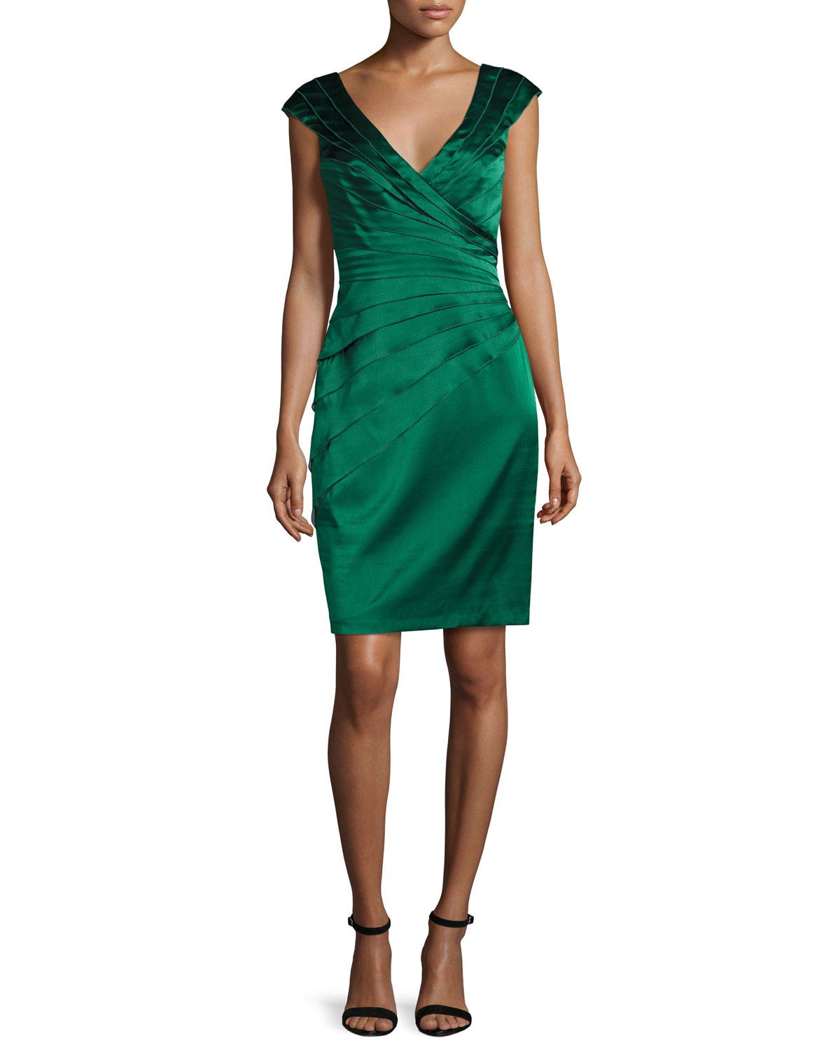 Cap-Sleeve Tiered Stretch Satin Cocktail Dress, Ivy