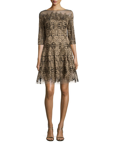3/4-Sleeve Embroidered Fit-and-Flare Dress, Gold
