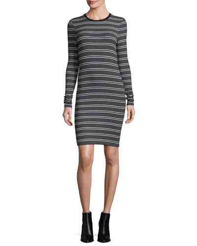 Long-Sleeve Engineered Striped Ribbed Dress, Black/White