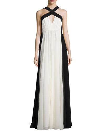 Sleeveless Colorblock Chiffon Gown, Chalk/Black