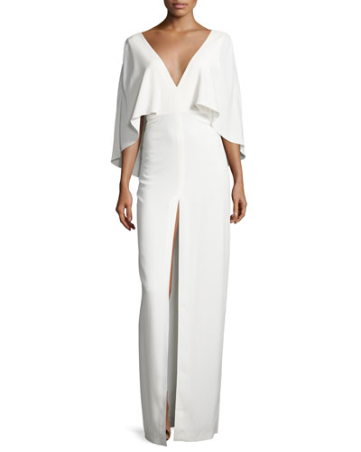 Short-Sleeve Stretch Crepe Column Gown, Chalk