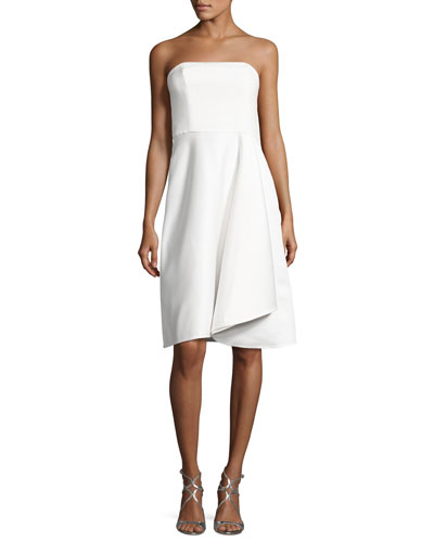 Strapless Draped Cocktail Dress, Eggshell