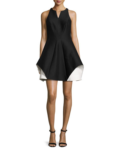 Sleeveless Fit-and-Flare Faille Dress, Black/Chalk