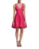 Sleeveless Cutout Faille Cocktail Dress, Cerise