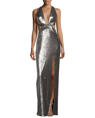 Sleeveless Cutout Metallic Column Gown, Antique Silver