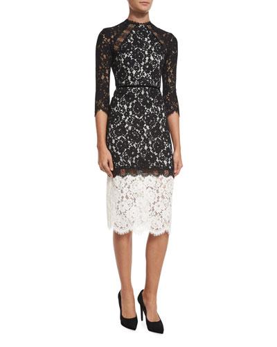Whitney Bicolor Lace Midi Dress