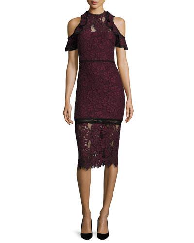 Evie Cold-Shoulder Lace Sheath Dress