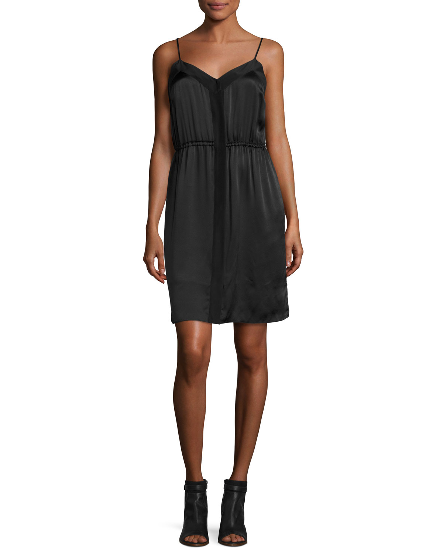 Silk Camisole Dress, Black