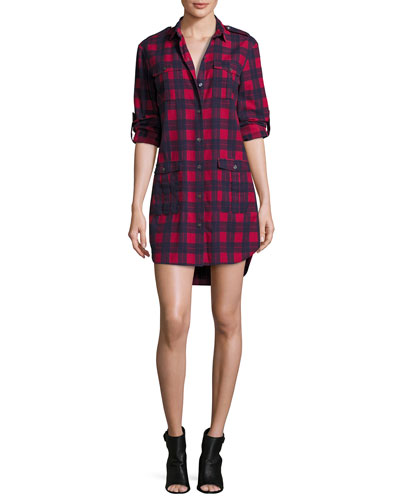 Long-Sleeve Flannel Plaid Shirtdress, Red/Blue