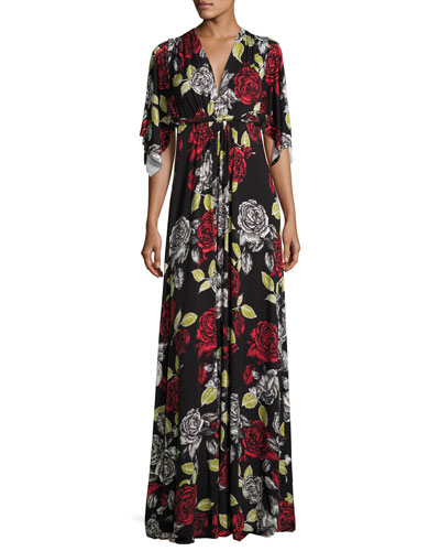 Floral-Print Caftan Maxi Dress, Plus Size