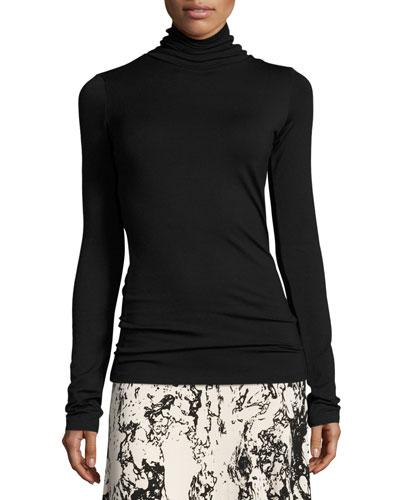 Plus Size Basic Long-Sleeve Turtleneck, Black