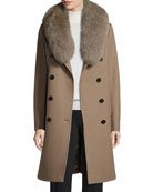 Long Double-Breasted Pea Coat w/ Fox Fur Collar, Musk