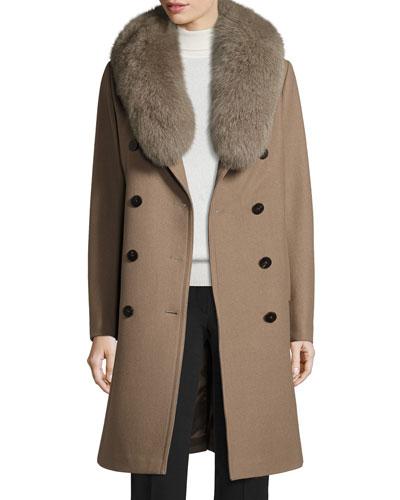 Long Double-Breasted Pea Coat w/ Fox Fur Collar, Musk