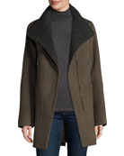 Double-Faced Wool-Blend Swing Coat, Deep Mocha