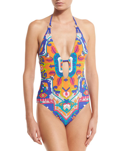 Tapestry Plunge Halter One-Piece Swimsuit