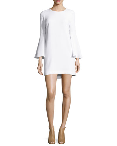 Aurora Bell-Sleeve Mini Dress, White