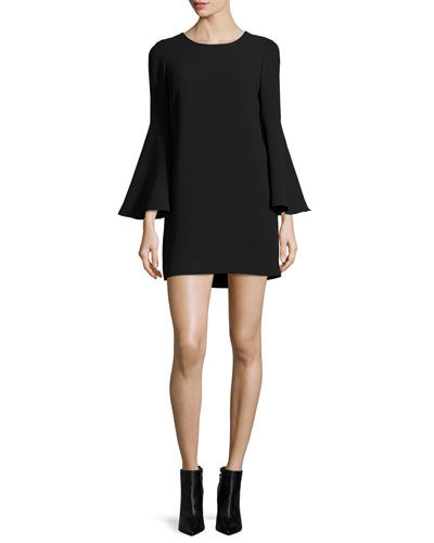 Aurora Bell-Sleeve Mini Dress, Black