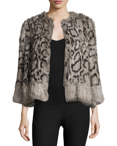 Cassidy Short Rabbit Fur Jacket, Salt/Pepper