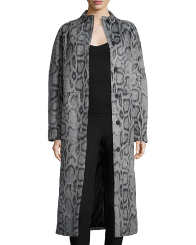 Balin Long Animal-Print Coat, Gray/Navy