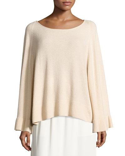 Freja Wool-Blend Flutter-Sleeve Sweater, Champagne
