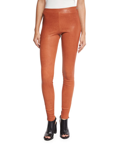 Xavier Zip-Trim Leather Leggings, Cinnamon