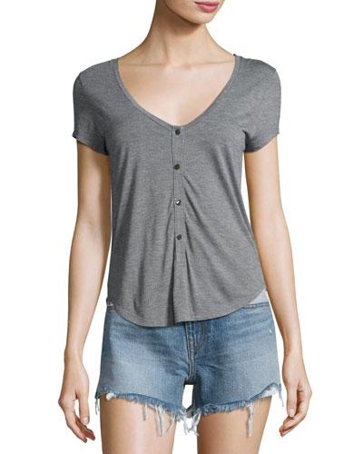 Short-Sleeve Henley Jersey Tee, Heather Gray