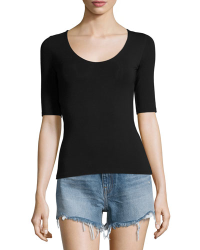 Stretch Jersey Open-Back Tee, Black