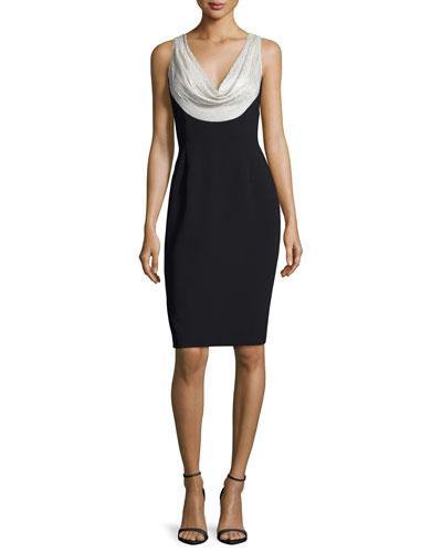 Sleeveless Silk-Trim Crepe Sheath Dress, Silver/Black
