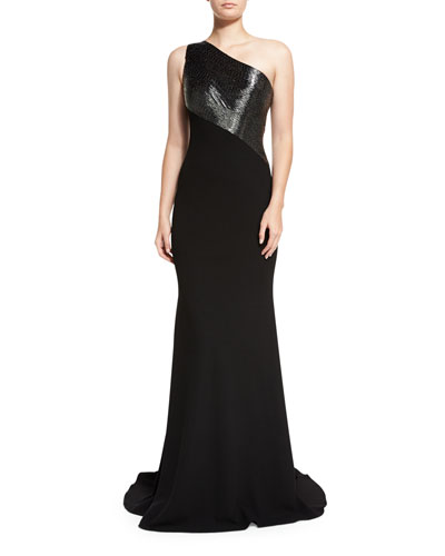 One-Shoulder Beaded Crepe Gown, Pewter/Black