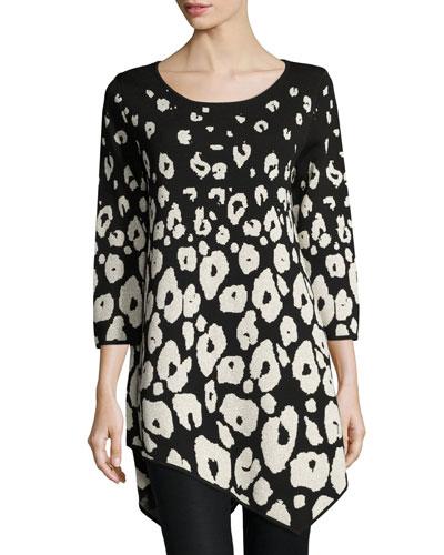 Three-Quarter-Sleeve Envelope-Hem Leopard Pullover, Black/Gold Lurex®