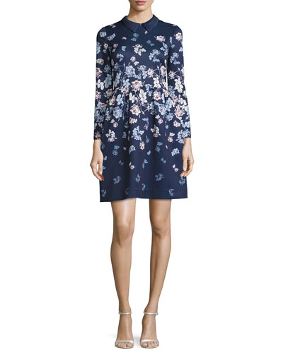 Collared Floral Cocktail Dress, Navy/Multicolor