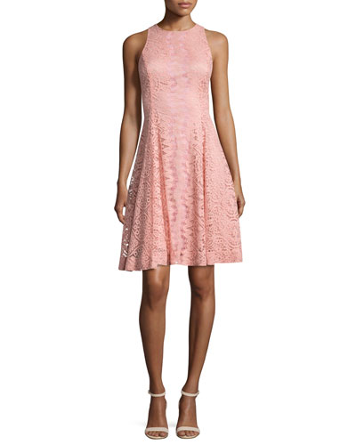 Sleeveless Lace Fit-and-Flare Cocktail Dress, Salmon