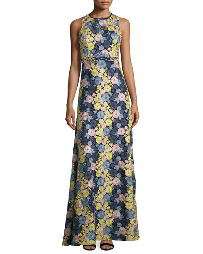 Sleeveless Floral Lace Gown, Navy/Multicolor