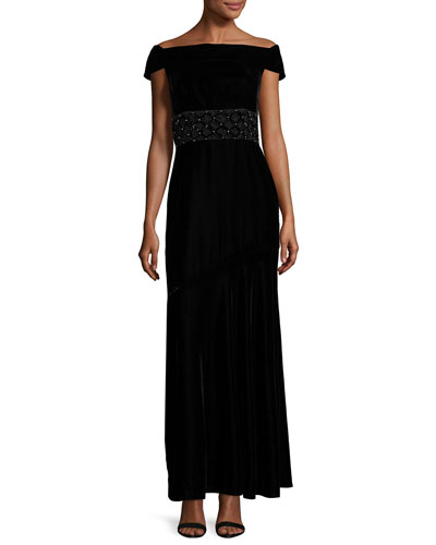 Cap-Sleeve Velour Column Gown, Jet