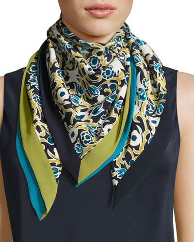 Gilded Garden Floral-Print Silk Scarf, Green Tea Multi