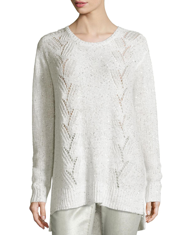 Sparkle Embellished Oversized Crewneck Sweater