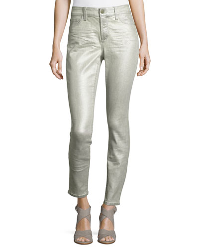 Metallic Mid-Rise Skinny Jeans, Silver
