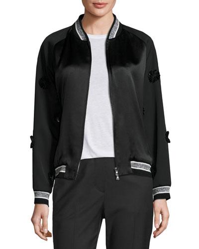 Floral Tuxedo Bomber Jacket, Black