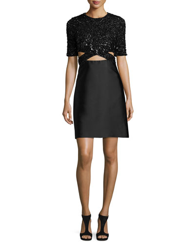 Short-Sleeve Embellished A-Line Dress, Black