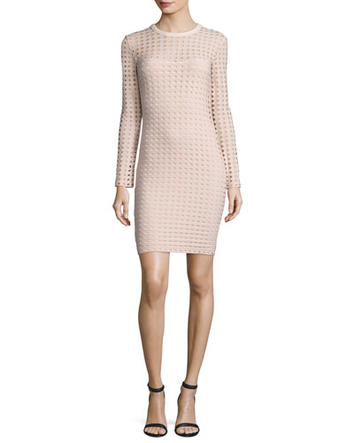 Long-Sleeve Jacquard Eyelet Mini Dress, Blush