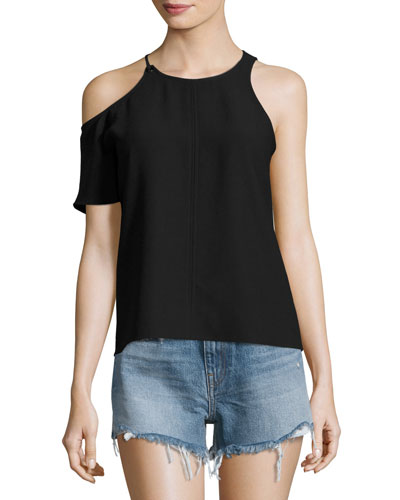 Matte Crepe Asymmetric Top, Black