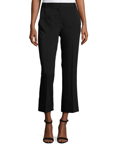 Twill Cropped Flare Pants, Black