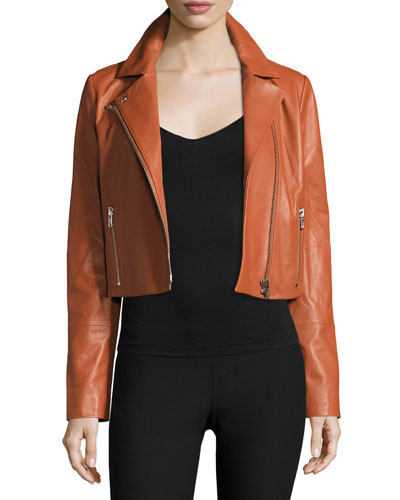 Gigi Cropped Leather Jacket, Cinnamon