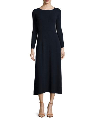 Caden Ribbed Tie-Back Midi Dress, Navy