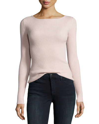 Fay Long-Sleeve Ribbed Tie-Back Top, Pale Pink