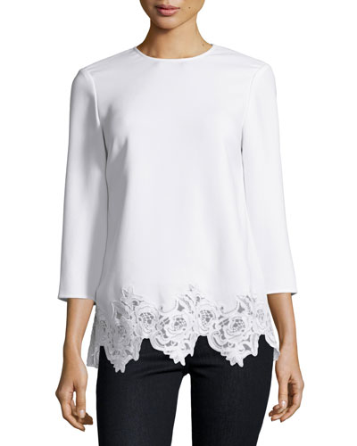 Florence 3/4-Sleeve Lace-Trim Crepe Top, Ivory
