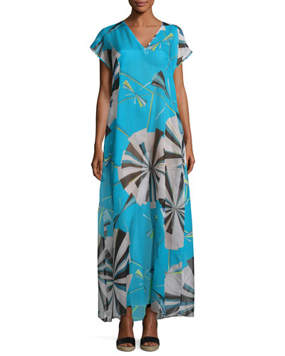 Parasol Silk Maxi Caftan Coverup, Turquoise/Black/Green