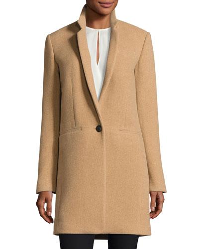 Emmet Single-Button Wool-Blend Coat, Camel
