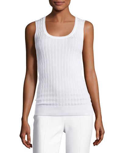 Zigzag Knit Tank Top, White